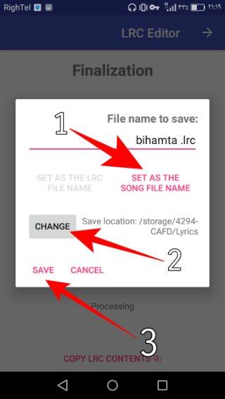 در مرحله بعد با کلیک روی set as the song file name نام متن ترانه را با نام فایل موزیک ست کنید چون برای نمایش ترانه حتماً باید نام ترانه و آهنگ یکی باشد مثلاً اگه نام آهنگ music.mp3 باشد باید نام ترانه music.lrc باشد ، حالا با کلیک روی دکمه change محل ذخیره سازی را به همان پوشهای که موزیک قرار دارد تغییر دهید .